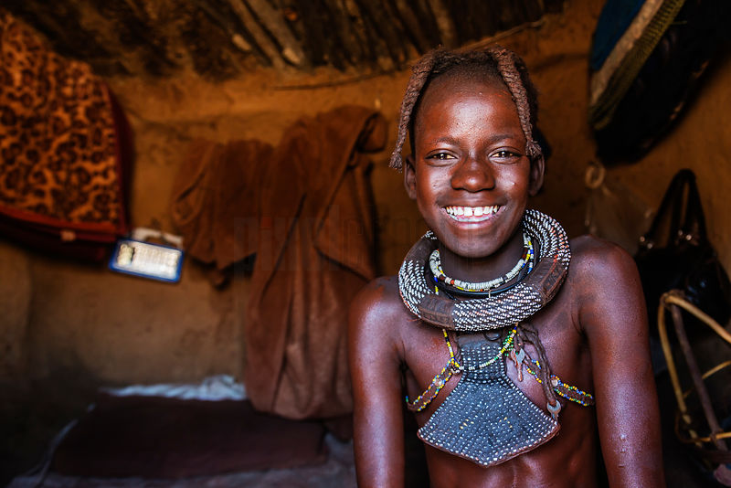 Portrait of a Himba Girl in Her House