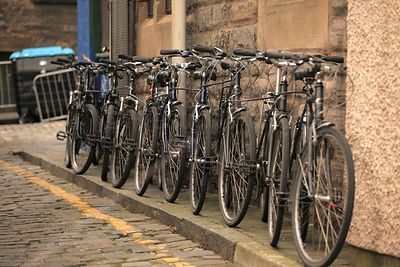 Line of Parked Black Bicycles  in Edinburgh