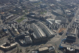 Liverpool aerial photograph of Copperas Hill and the Royal Mail offices Russell Street and Brownlow Hill with Lime Street Railway Station in the foreground