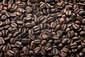 Background roasted coffee beans on white background.