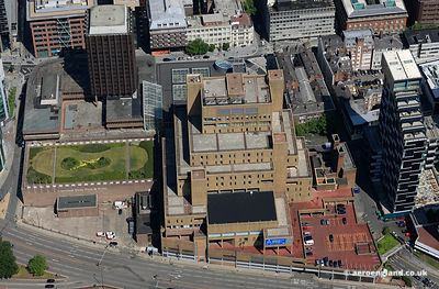"aerial photograph of New Hall Place , also known as The Capital and the Royal & Sun Alliance Building but popularly called ""The Sand Castle "" in   Liverpool UK"