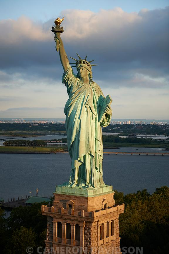 Aerial of the Statue of Liberty in New York Harbor