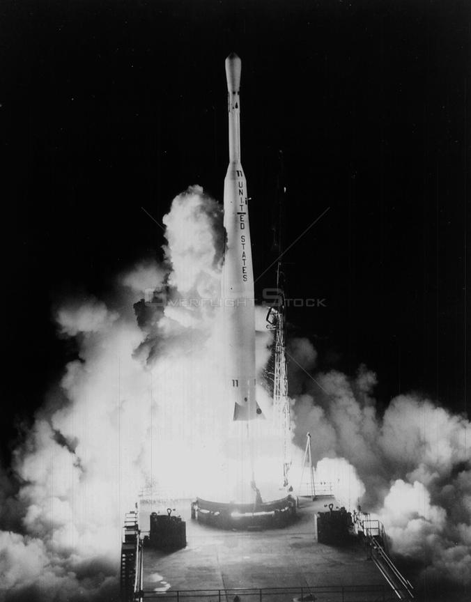CAPE CANAVERAL, USA - 10 July 1962 - A Thor/Delta launches the Telstar 1 satellite from Cape Canaveral Air Force Station's Launch Complex