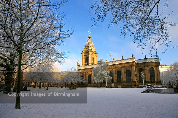 St Philips Cathedral, St Philips square, Birmingham City Centre, England, UK. In snow.