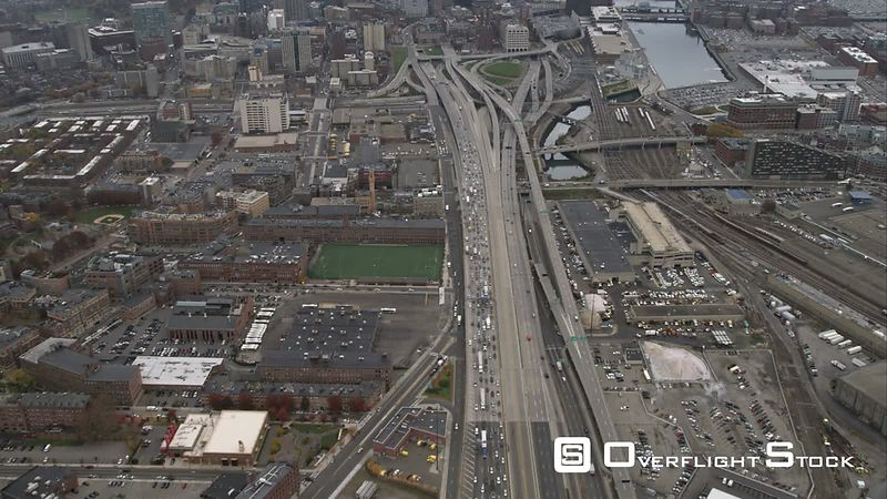 Over Highways, Approaching Downtown Boston. Shot in November