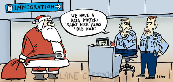 Santa at immigration barrier.