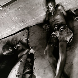 Former combatants are locked in a room whilst being treated for (forced) drug addiction. Freetown, Sierra Leone