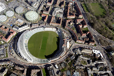 aerial photograph of the  Oval Cricket Ground . London   England UK. Also in the image are Kennington Oval, London SE11 5SW,the Gasworks Gallery, Henry Fawcett Primary School.Bowling Green St, London SE11 5BZ, and Pegasus Pl, London SE11 5SD