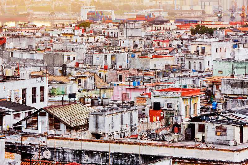 Looking over the Rooftops of Habana Vieja Towards the Port