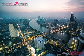 Bangkok business district and city at sunset, Thailand