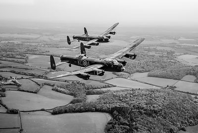 Two Lancs over Bucks black and white version