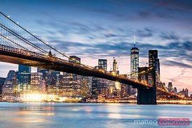 Brooklyn bridge at dusk, New York city, USA