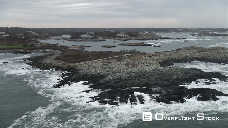 Rocky Islands and Oceanfront Homes in Newport, Rhode Island. Shot in November