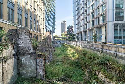 Ruins Of A Roman Wall In Modern London, England