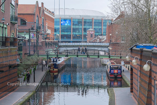 The Barclaycard ARena next to Brindleyplace and the canals of Birmingham.