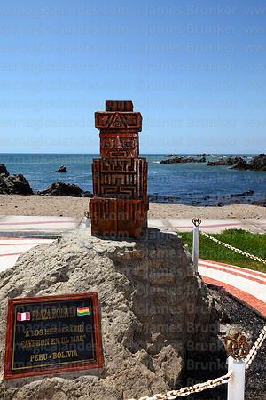 Plaza Bolivia, a monument to Bolivian and Peruvian troops who died in the War of the Pacific against Chile , Ilo , Peru