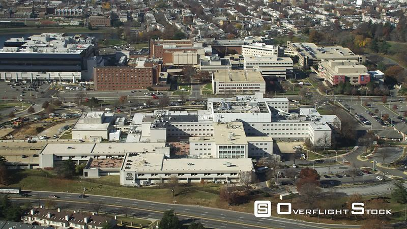 Rotating high over the Department of Veterans Affairs Medical Center in Washington DC. Shot in November