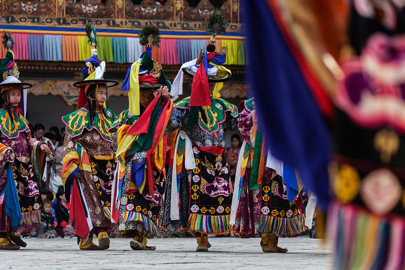 Performers of the Black Hat Dance during the First Day of the Punakha Tshechu Festival