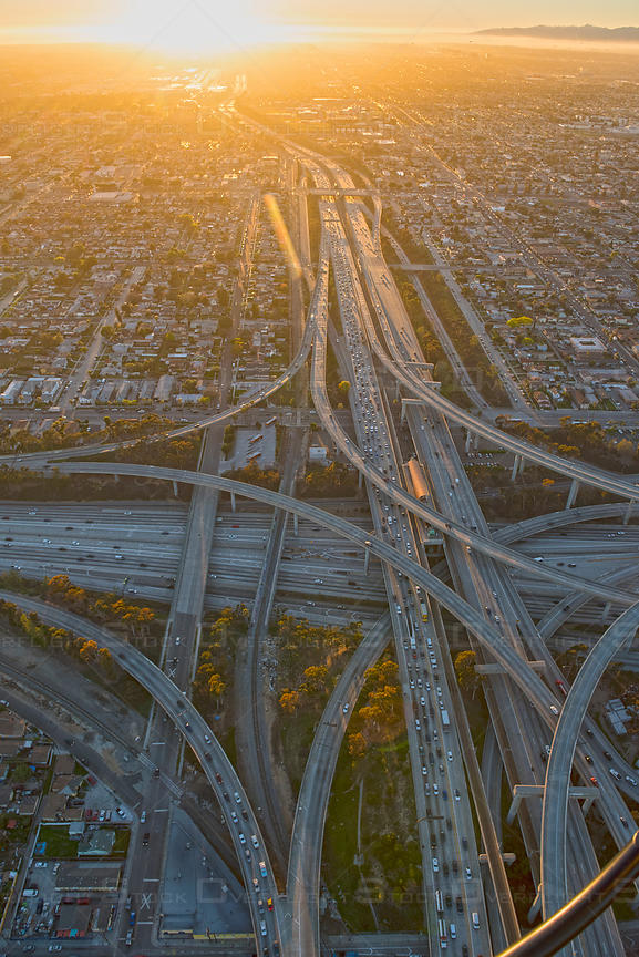 Aerial view of freeway interchange, I-10 and I-110 south of downtown Los Angeles, CA, USA
