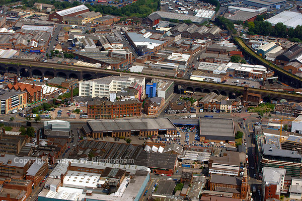 Aerial view of the Digbeth, Birmingham, from the air. Showing the Custard Factory, old coach and bus station and industrial units.