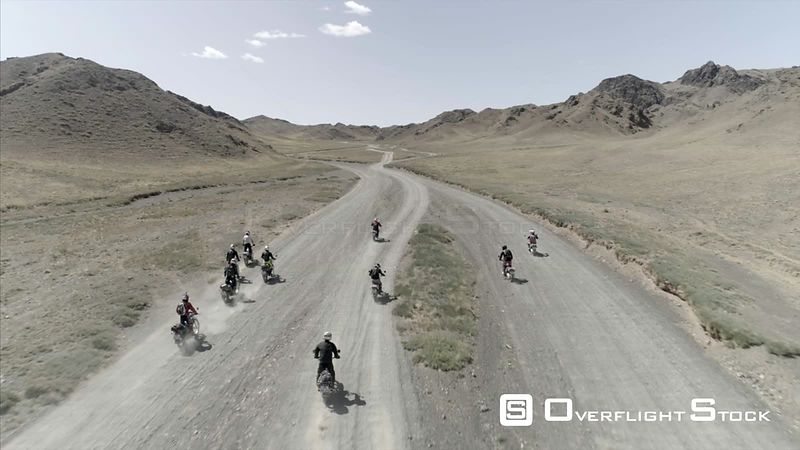 Group Motorcylcle trip in South Gobi Drone Video Mongolia