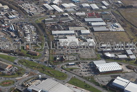 Widnes aerial photograph looking across Ashley Way towards Fiddlers Ferry road and Dennis road and the Industrial estates and Business and retail Parks in the area