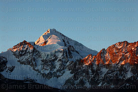 Mt Huayna Potosí south peak at sunset, Cordillera Real, Bolivia