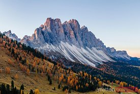 Aerial view of Odle peaks at sunrise, Dolomites, Italy
