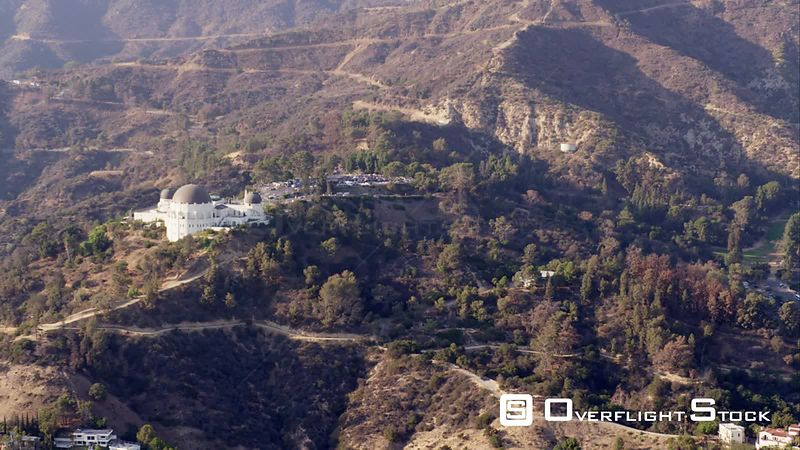Aerial View Of The Mt. Griffith Observatory In Mt. Griffith Park, Los Angeles, RED R3D 4k California