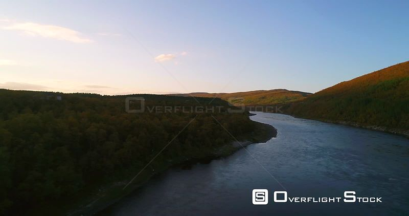 Autumn River, Aerial View Over Tenojoki River at the Border Between Norway and Utsjoki Town, on a Sunny Autumn Day, in Utsjoki, Lapland, Lappi, Finland