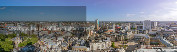 An aerial view of Birmingham City Centre.