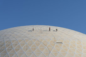 LONG BEACH, USA - FEBRUARY 20, 2018: Workment doing maintenance work at The Dome at the Queen Mary in Long Beach, Los Angeles.