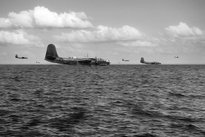 RAF Bostons Channel crossing black and white version