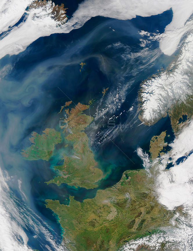 EARTH Western Europe -- 18 Apr 2003 -- A mixture of dust from the Sahara Desert, air pollution, and smoke lingers over the Atlantic Ocean