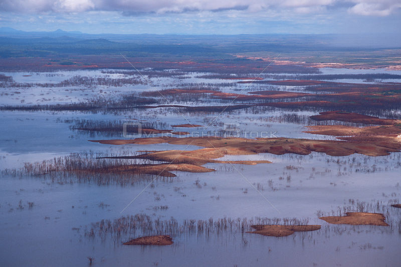 Aerial view of floodplain near Canaima National Park, Venezuela