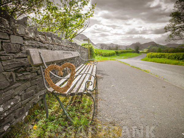 Bench with a heart on countryside road