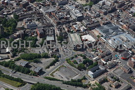 Bolton aerial photograph of the area of Folds Road looking down Manor Street in towards Crown Street car park and Deansgate