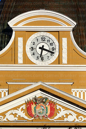 Bolivian coat of arms and backwards clock on Congress building, Plaza Murillo, La Paz, Bolivia