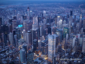 Aerial photograph of midtown Manhattan business district.
