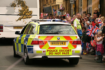 Police Escort Car at Olympic Torch Relay