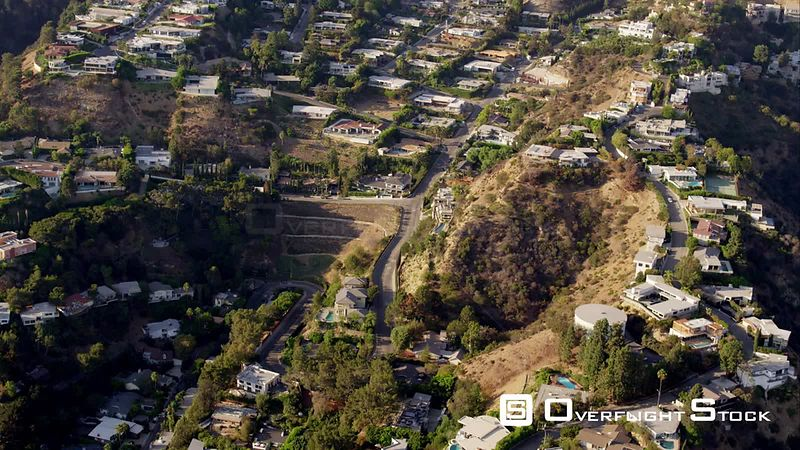 Aerial View Of Houses In The Hollywood Hills Between Sunset Plaza Drive (Including The Bird Streets Area) And Coldwater Canyon, RED R3D 4k California