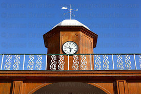 Detail of clock tower over entrance to terminal of Tacna to Arica railway , Tacna , Peru