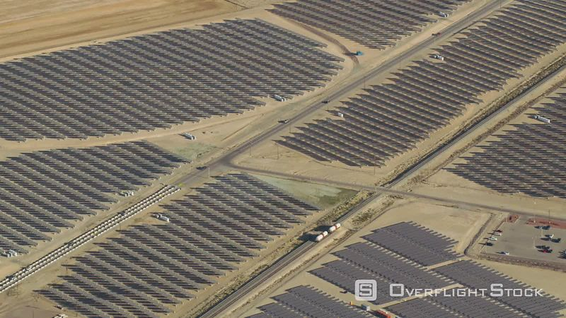 Aerial view of large solar farm outside of Las Vegas, Nevada