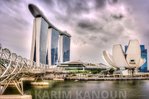 Marina Bay Sand under dramatic sky