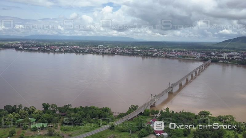 Aerial view of Pakse bridge on the Mekong river, filmed by drone, Pakse, Laos