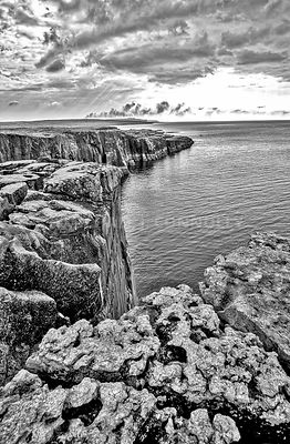 Where The Burden Meets The Atlantic (Vertical B&W) County Clare, Ireland