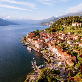 Aerial view of Bellagio town on lake Como, Italy