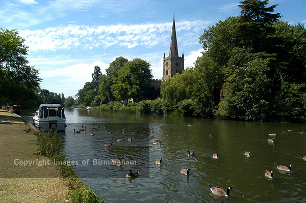 Boats at Stratford upon Avon, Warwickshire. Swans and riverboats, river Avon. Church.