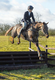 Zoe Gibson jumping a fence at Cream Gorse - The Quorn at Cream Gorse Farm