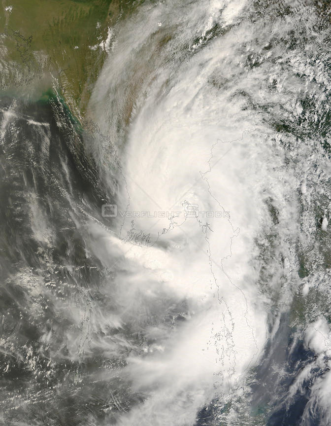 Cyclone Nargis passed over Myanmar (Burma) after formed in the Bay of Bengal.